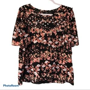 WORTHINGTON CORAL ALLOVER FLORAL PRINT BLOUSE 1X